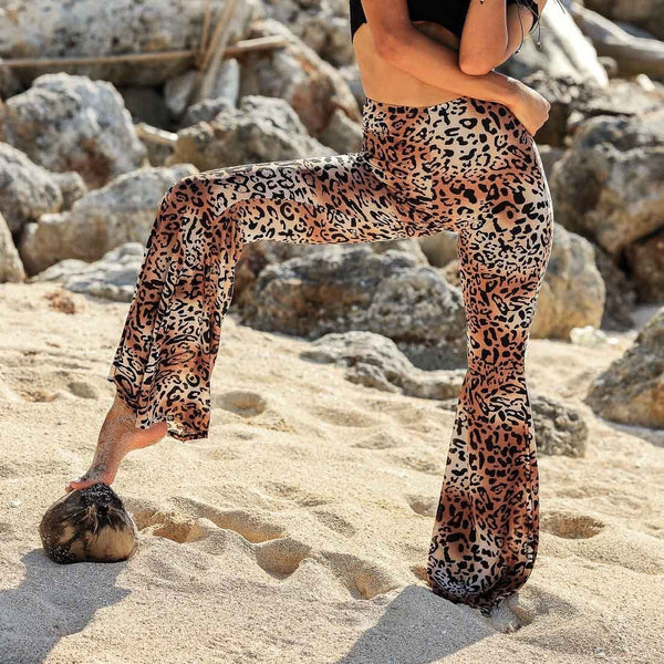 Leopard Print High-Waisted Wide-Leg Pants
