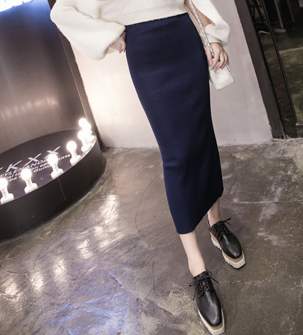 Fashion New Knit Solid Color Skirt
