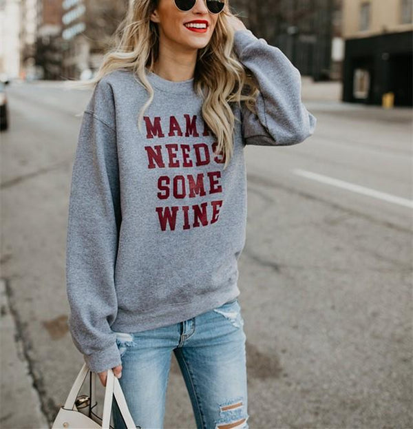 Fashion Trend Round Collar Long Sleeve Letters Leisure Hoodie