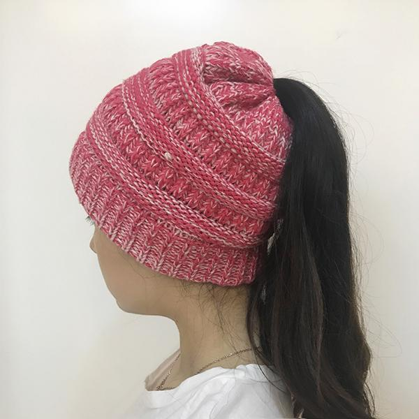 Women's Knitted Horsetail Hat Woolen Hat