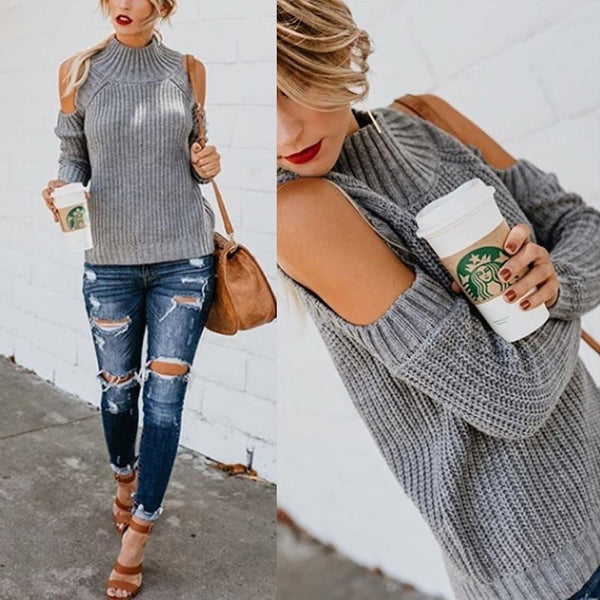 Turtle Neck Long Sleeve Hollow Out Fashion Knitting Sweater