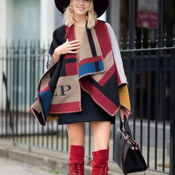 Fashion Casual Color Block Cape