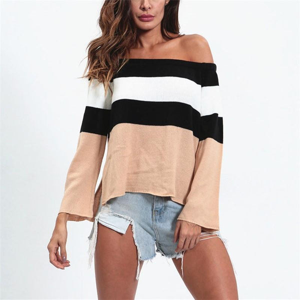 Sexy One Shoulder Short Stripe Knitted Sweater