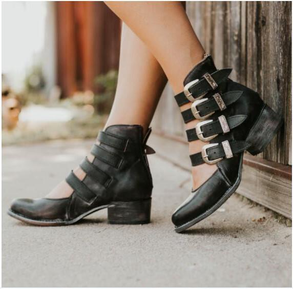 Vintage Short PU Boots With Shallow Buckles