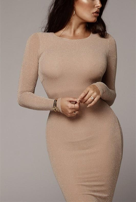 Sexy Wrap Buttock Slim Long Sleeve Bodycon Maxi Dress