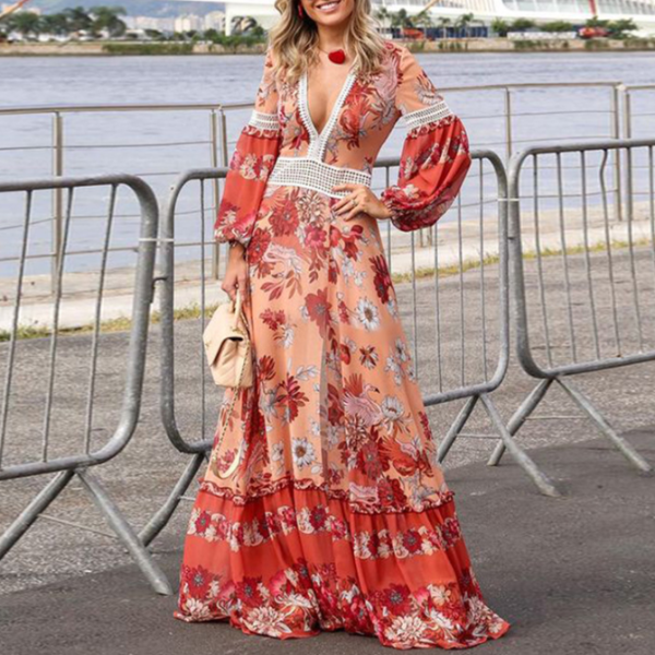 Bohemian Splicing Vintage Printed Colour Maxi Dresses