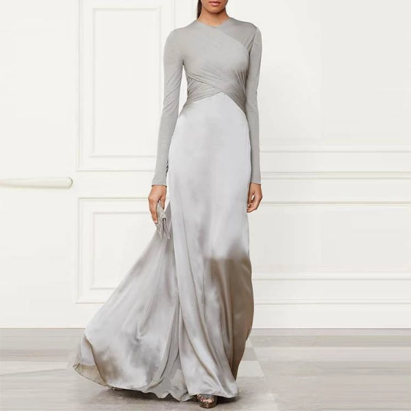 Pure Color Long Sleeved Evening Dress