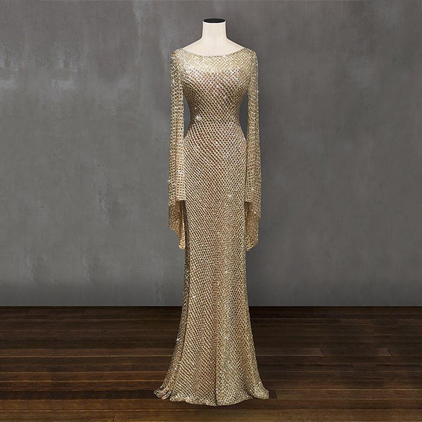 Elegant Silver Trumpet Fishtail Evening Dress