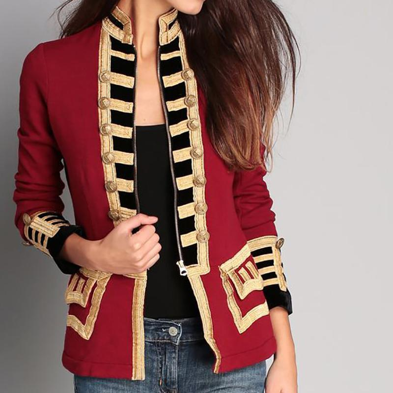 Fashion Long Sleeve Pure Colour Splicing Little Suit Jacket