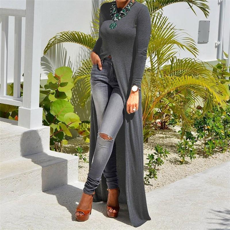 Fashion Sexy High Slit Long-Sleeved Blouse