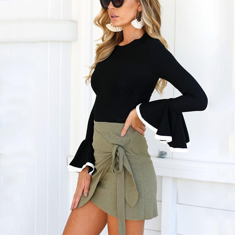 Fashion Round Collar Bell Sleeves T-Shirt Blouse