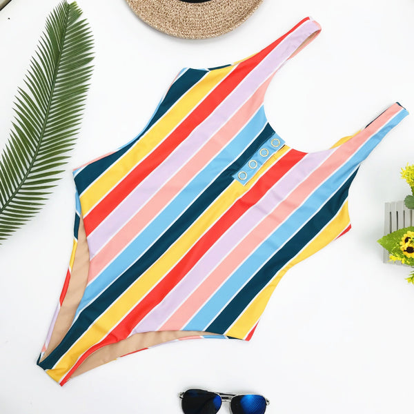 Vacation Sandbeach Sexy Strips Piece swimsuit Bikini
