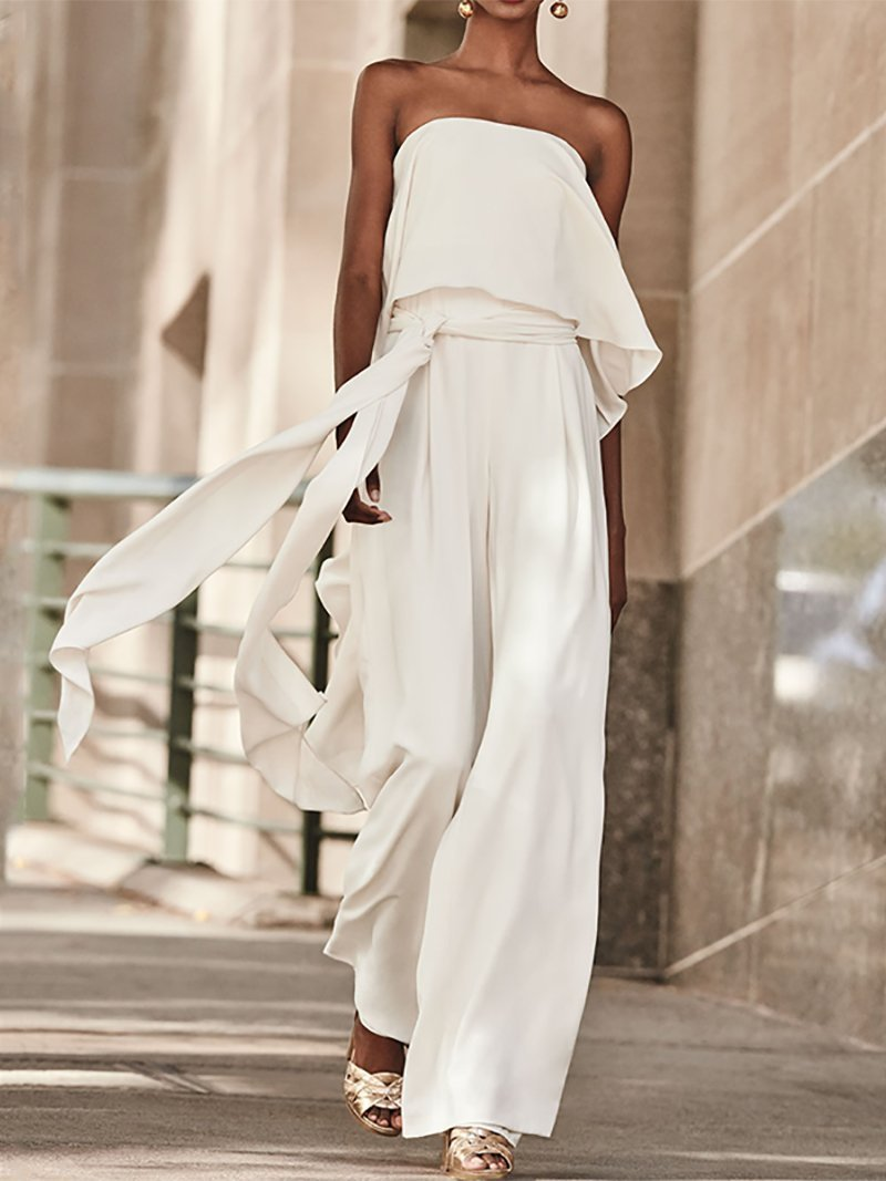 Sexy Pure Colour Belted Off-Shoulder Sleeveless Jumpsuits