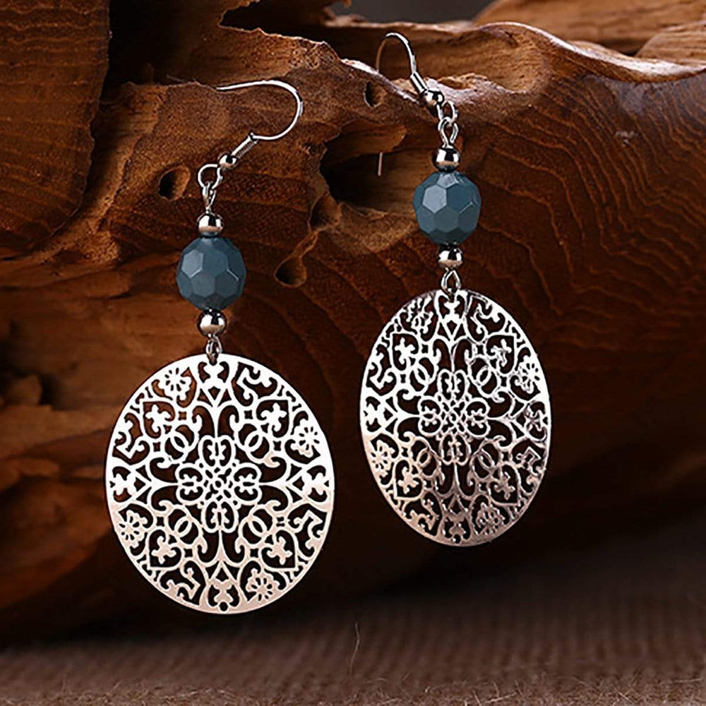 Fashion Hollow Complex Round Pop Decorative Earrings