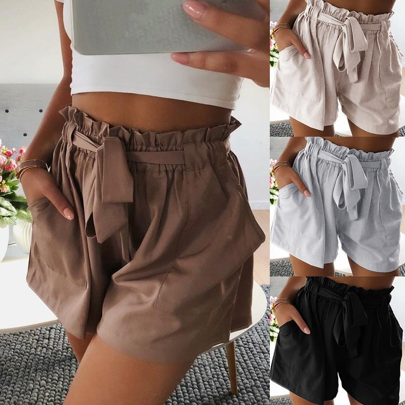 Casual Loose High   Waist Pure Color Frenulum Shorts