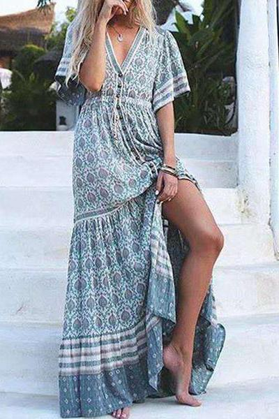 Bohemia Half Sleeve Floral Maxi Swing Outerwear Casual Vacation Dress