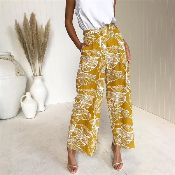 Casual High Waist Show   Thin Leaf Printing Straight Pants