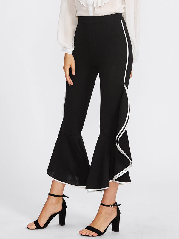 Casual High Waist   Slim Show Thin Falbala  Bell Bottomed   Pants