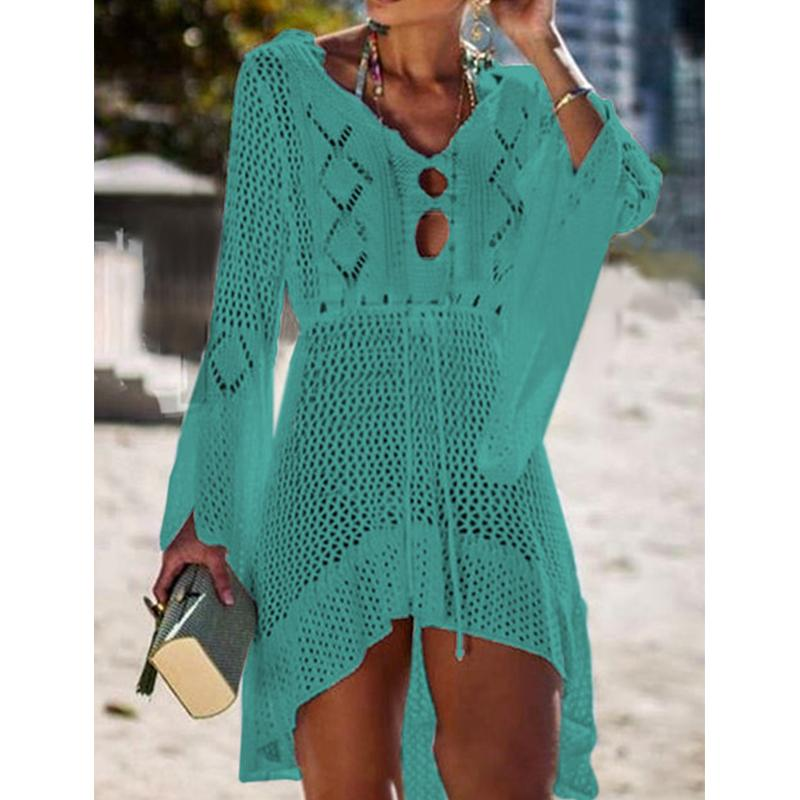 Hollowed-Out Knit Bikini Flared Sleeves Swimsuit