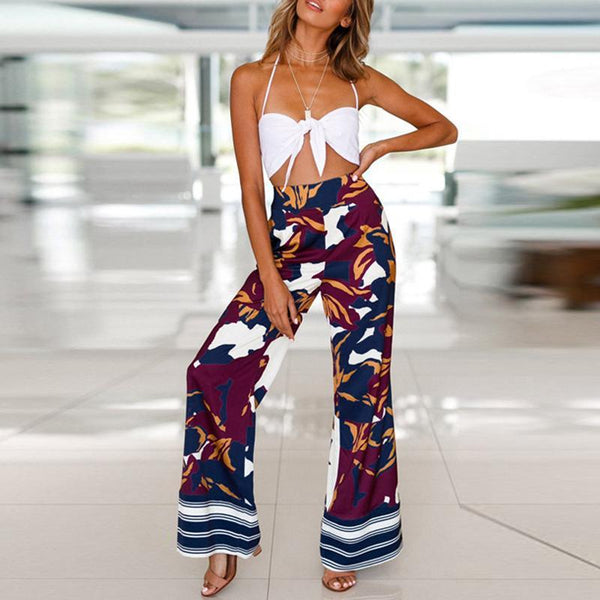 Casual Loose High   Waist Slim Print Camouflage Wide Leg Pants