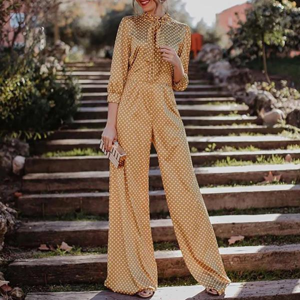 Casual Fashion Polka Dot Printed Tandem Wide-Legged Jumpsuit