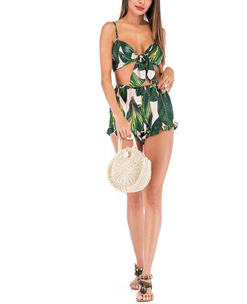 Casual Sexy Sling   Bikini With Shorts Bowknot Leaf Printing Suit
