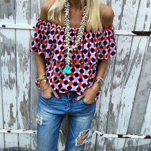 Casual Sexy Off The   Shoulder Boat Neck Wave Point Shirt