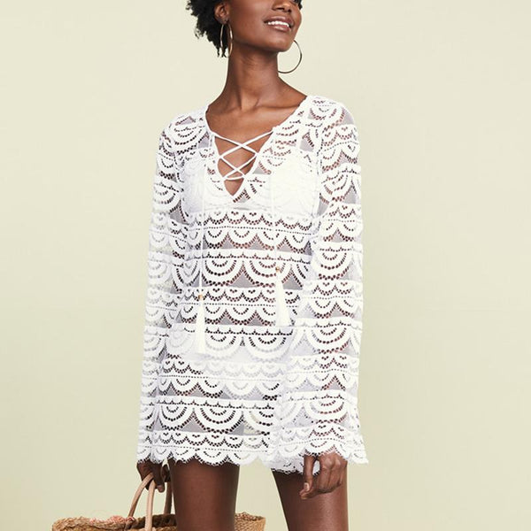Casual Sexy Deep V   Neck Horn Sleeve Beach Vacation Lace Mini Dresses