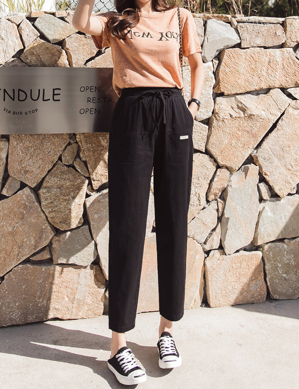 Casual High Waist Show   Thin Nine Minute Trousers Pencil Straight Pants