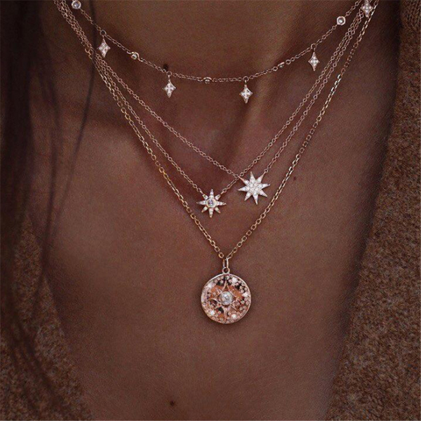 Full   Diamond Star Multi-Layer Necklace