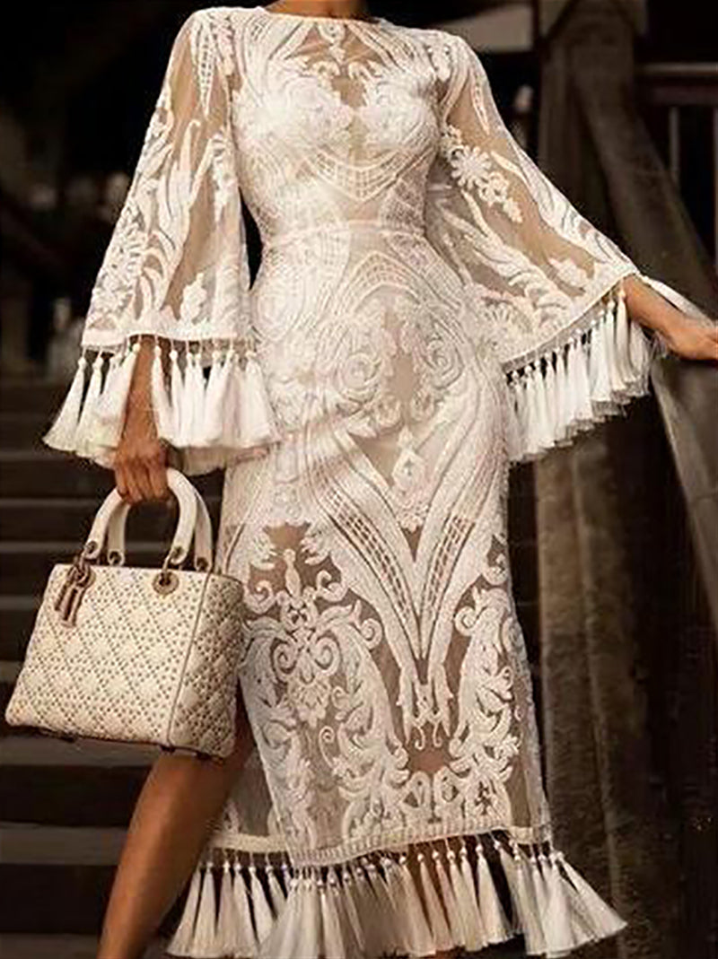 Elegant Lace Inwrought Tassel Bell Sleeve Maxi Dresses