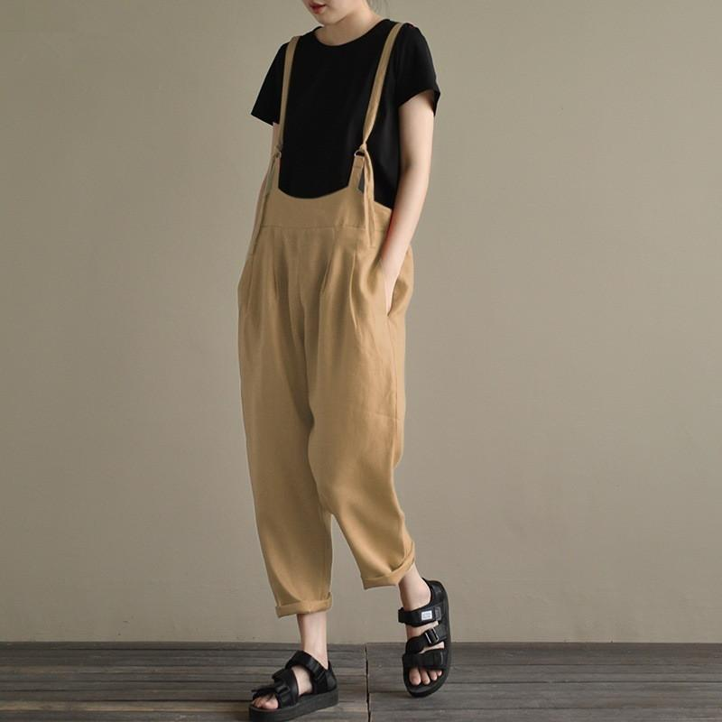 Vintage Solid Color Suspenders Casual Long Pant