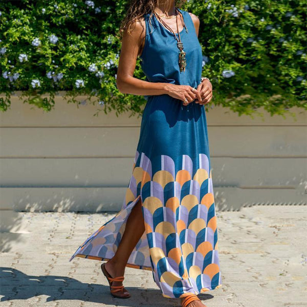 Fashion Round Neck Sleeveless Printed Colour Maxi Dresses