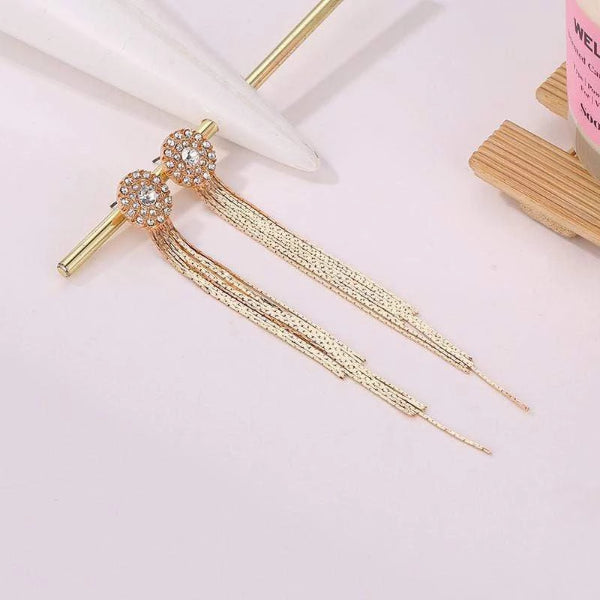 Fashion Sunflower Long Fringed Earrings