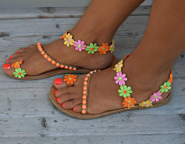 Bohemian Color   Flower Flat Sandals