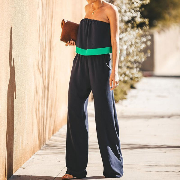 Fashion Sexy Solid Color Bare Shoulders Jumpsuits