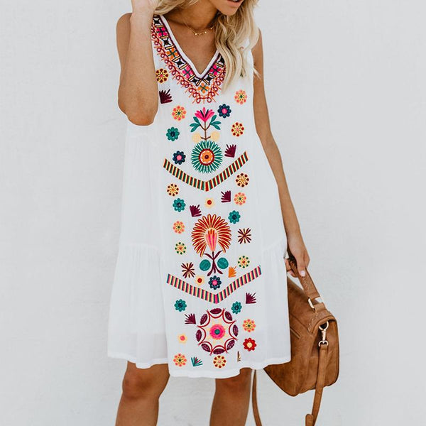 Bohemian Inwrought V Neck Printed Colour Sleeveless Dress