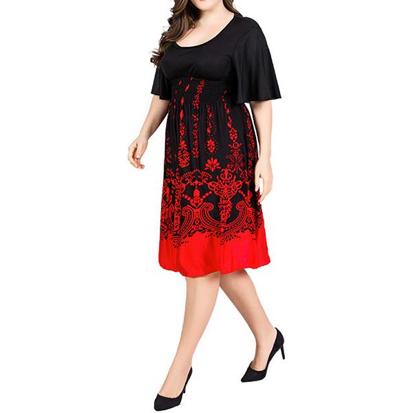 Plus Size Commuting Round Neck Pleated Printed Colour Dress