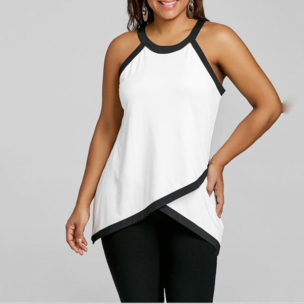 Plus Size Commuting Round Neck Sleeveless Splicing Vest