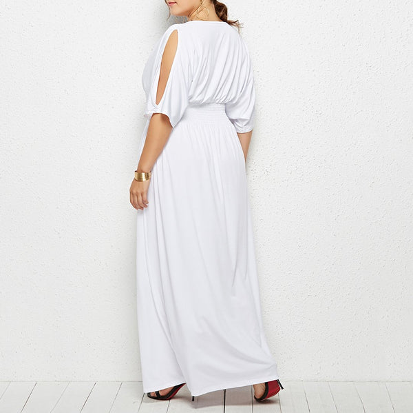 Plus Size Commuting Round Neck Off-Shoulder Pleated Dress