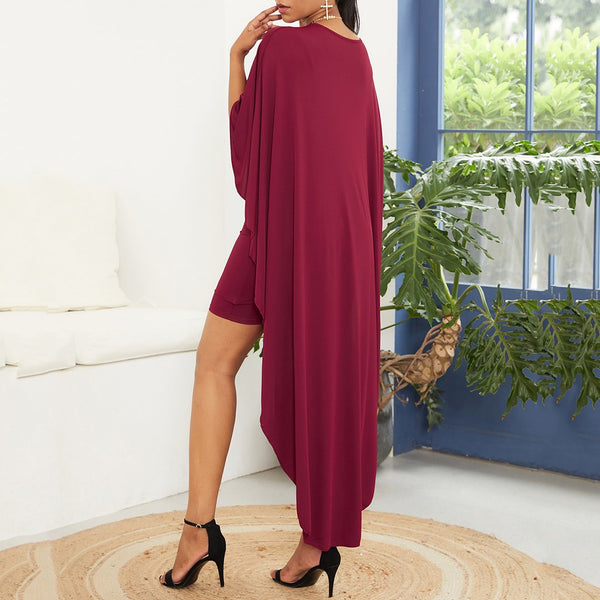 Plus Size Irregular Batwing Sleeve Pure Colour Package Buttocks Dress