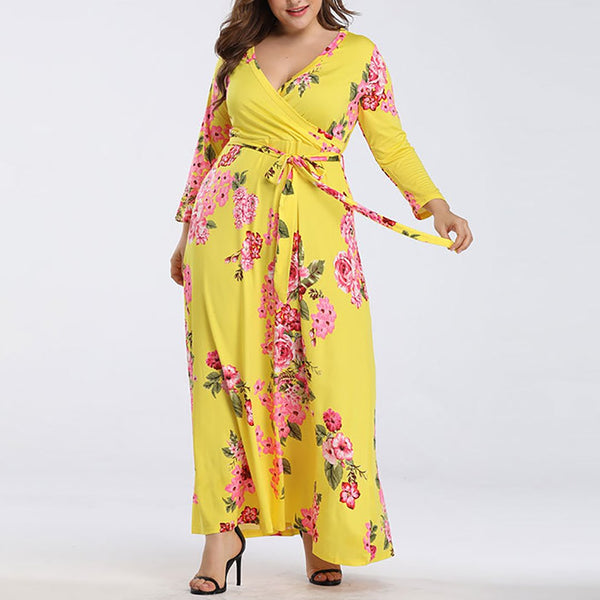 Plus Size Commuting V Neck Lace-Up Long Sleeve Printed Colour Dress