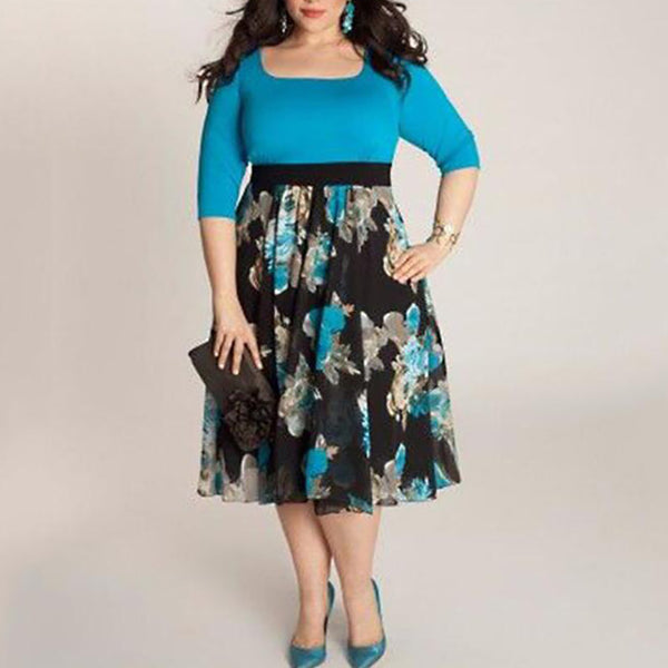 Plus Size Commuting Boat Neck Halflong Sleeve Splicing Printed Colour Dress