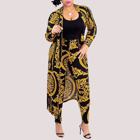 Plus Size Casual Long Sleeve Printed Colour Cardigan Suit