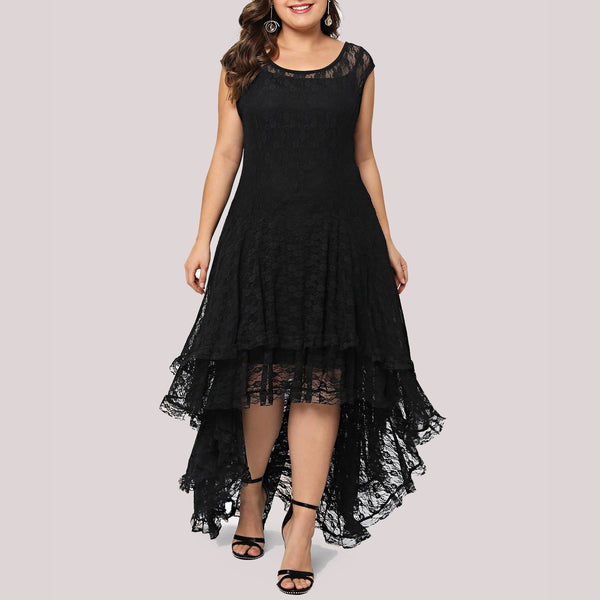 Plus Size Irregular Lace Sexy Round Neck See-Through Pure Colour Dress
