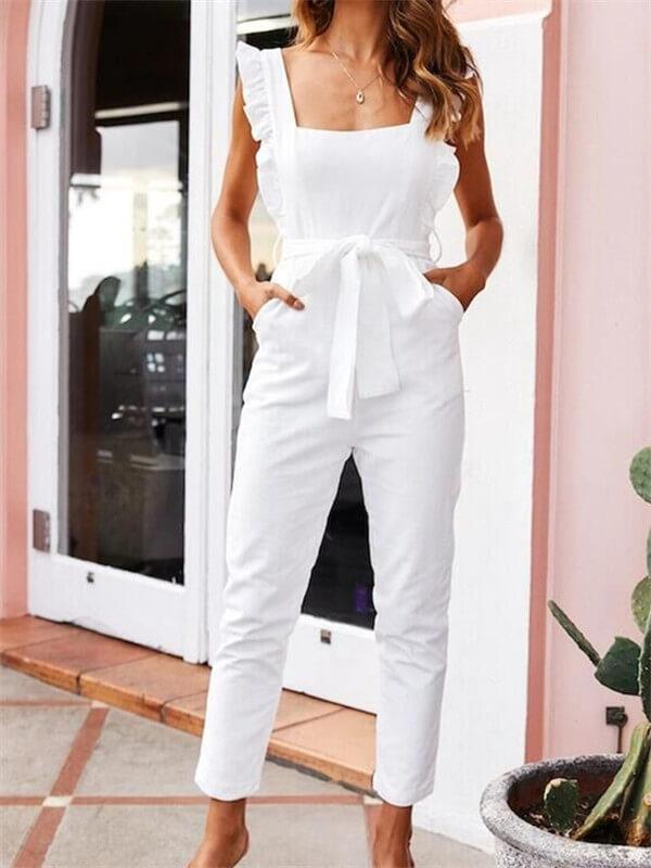Sexy Square Collar Ruffled Sleeveless Jumpsuits