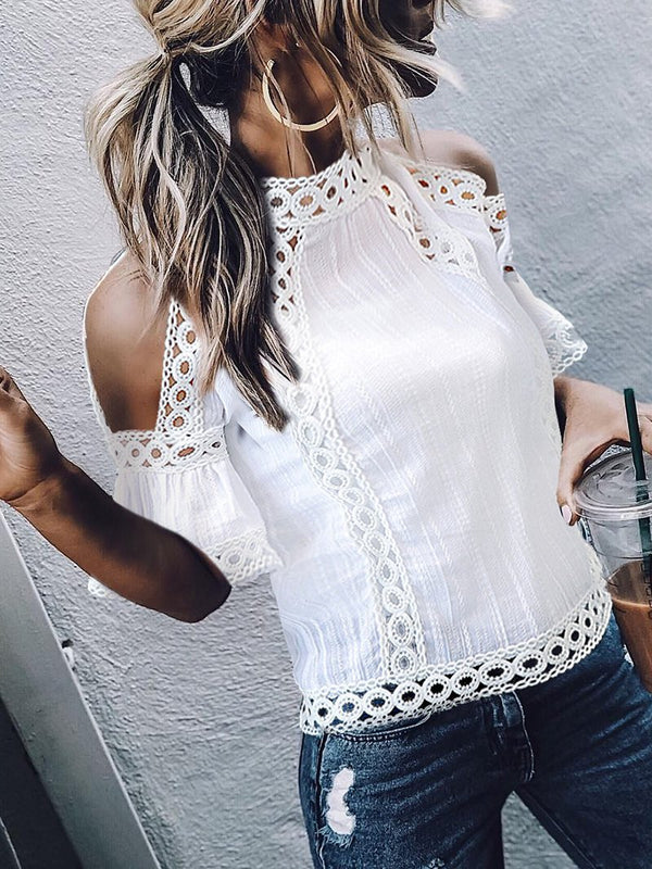 Elegant Bell Sleeve Splicing Hollow Out See-Through Lace T-Shirt
