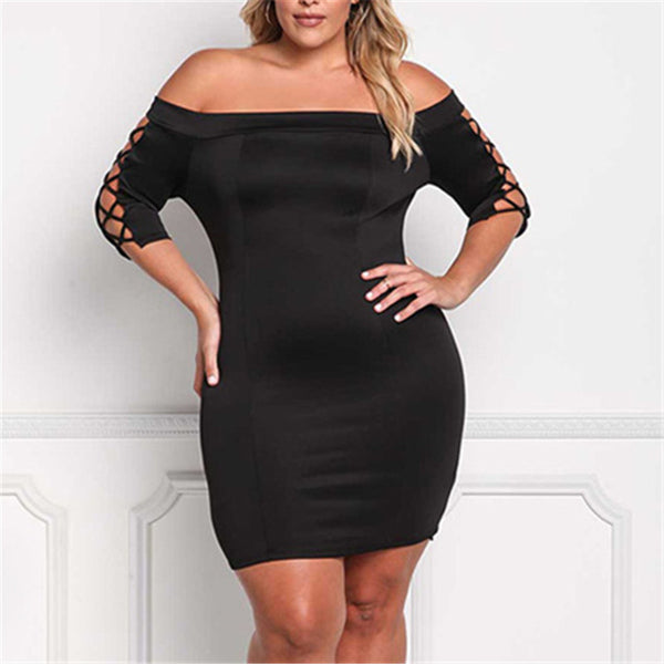 Plus-Size Sexy Off Shoulder Hollowing Out Frenulum Slim Dress