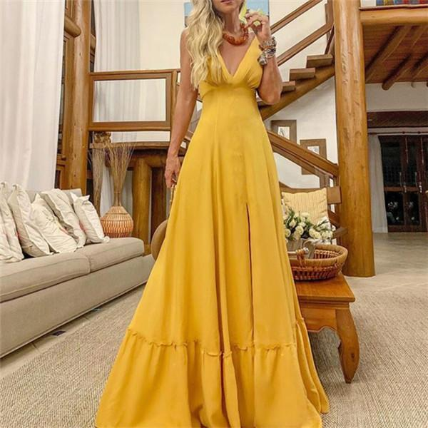 Sexy V Neck Pure Color Suspension Maxi Dress