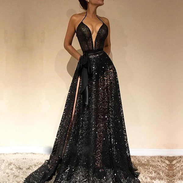 Sexy V Neck Belted Sleeveless Lace Evening Dress